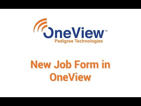 New Job Form in OneView